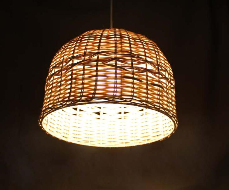 Hand Make Hat Rattan Pendant Light Rustic Lamp Rural Etsy