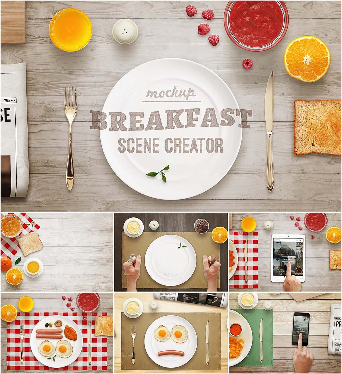 Breakfast mockup scene creator set free vectors cards