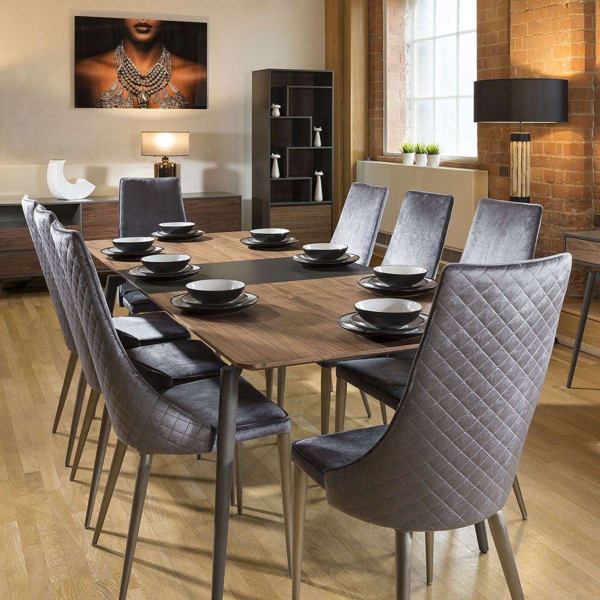 Extending Dining Table Set Walnut