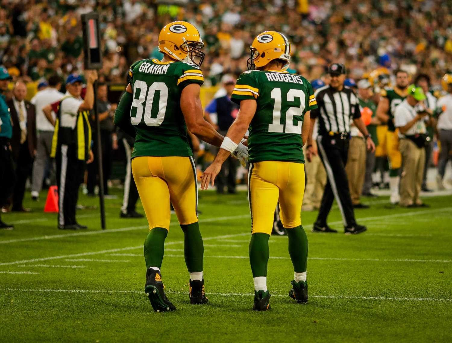 Jimmy Graham With Another Great Quarterback Aaron Rodgers Green Bay Packers Green Bay Packers Green Bay Packers Baby Jimmy Graham