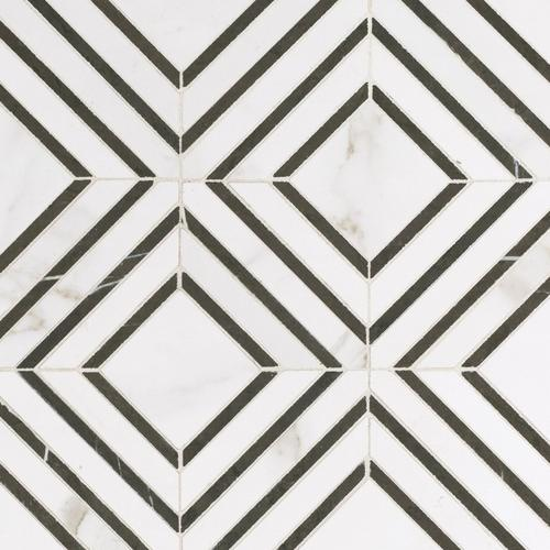 Calacatta Labrinto Porcelain Mosaic Bathroom Floor Tiles Mosaic Floor Decor