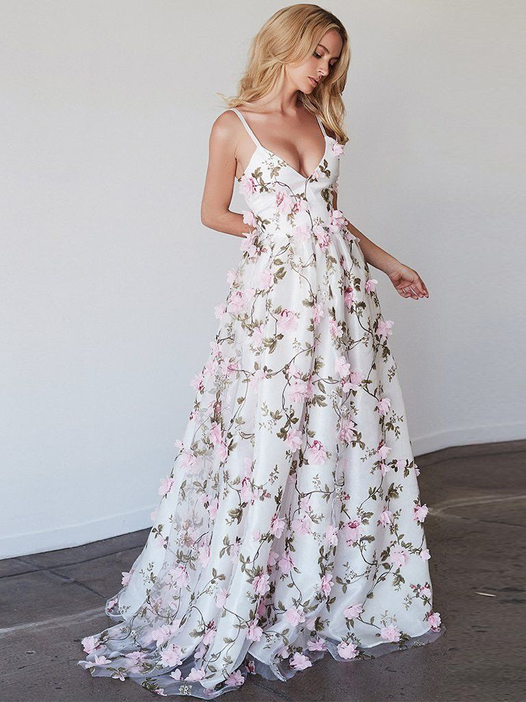 Chic aline prom dress spaghetti straps tulle applique prom dress