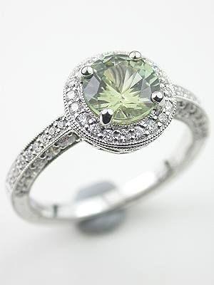 Antique Sapphire Engagement Rings | Antique Style Green Sapphire Engagement Ring, RG-3142a