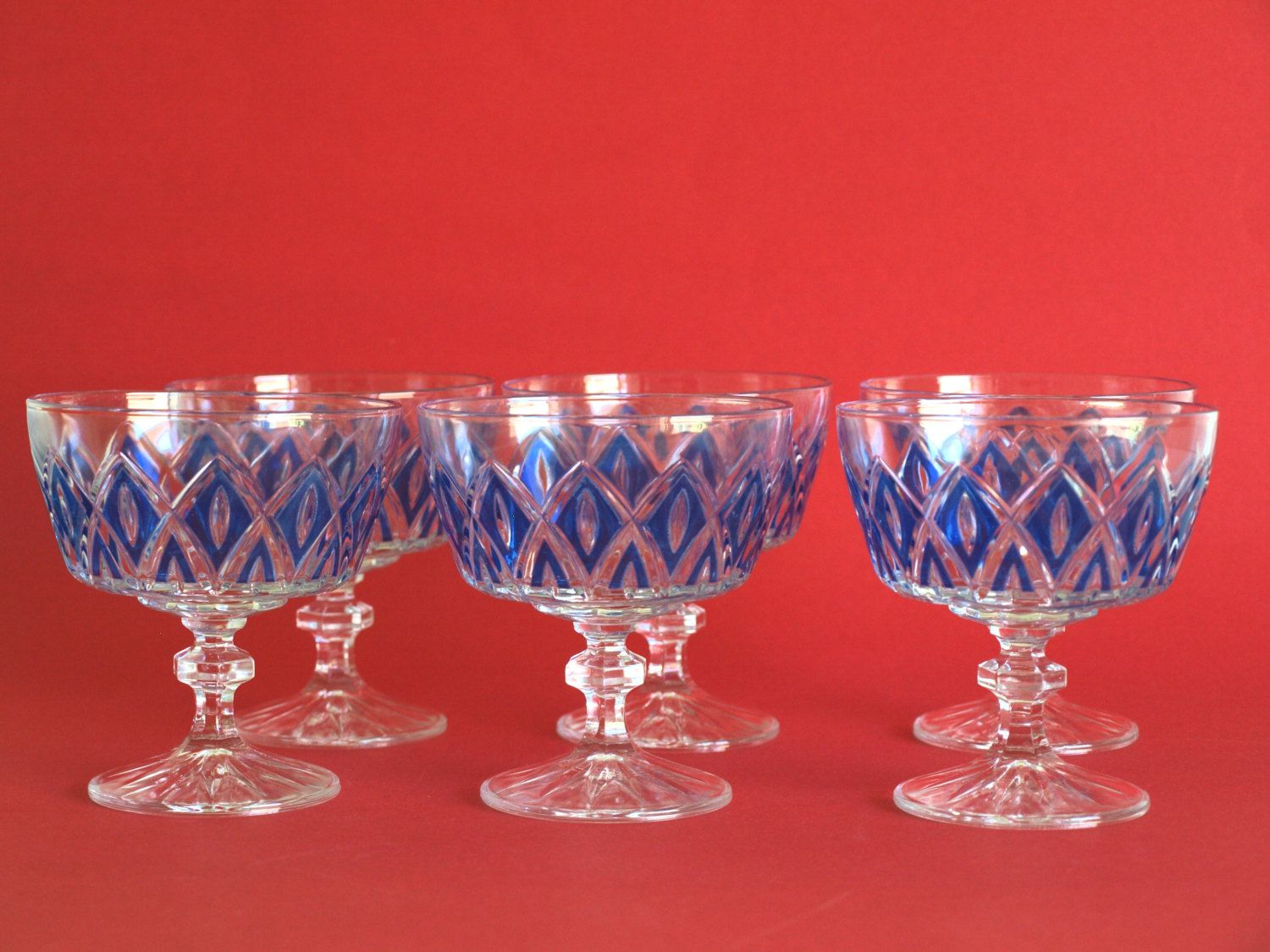 Reserved For Amanda French Vmc Reims Harlequin Cocktail Etsy Vintage Glassware Reims Cocktail Glasses