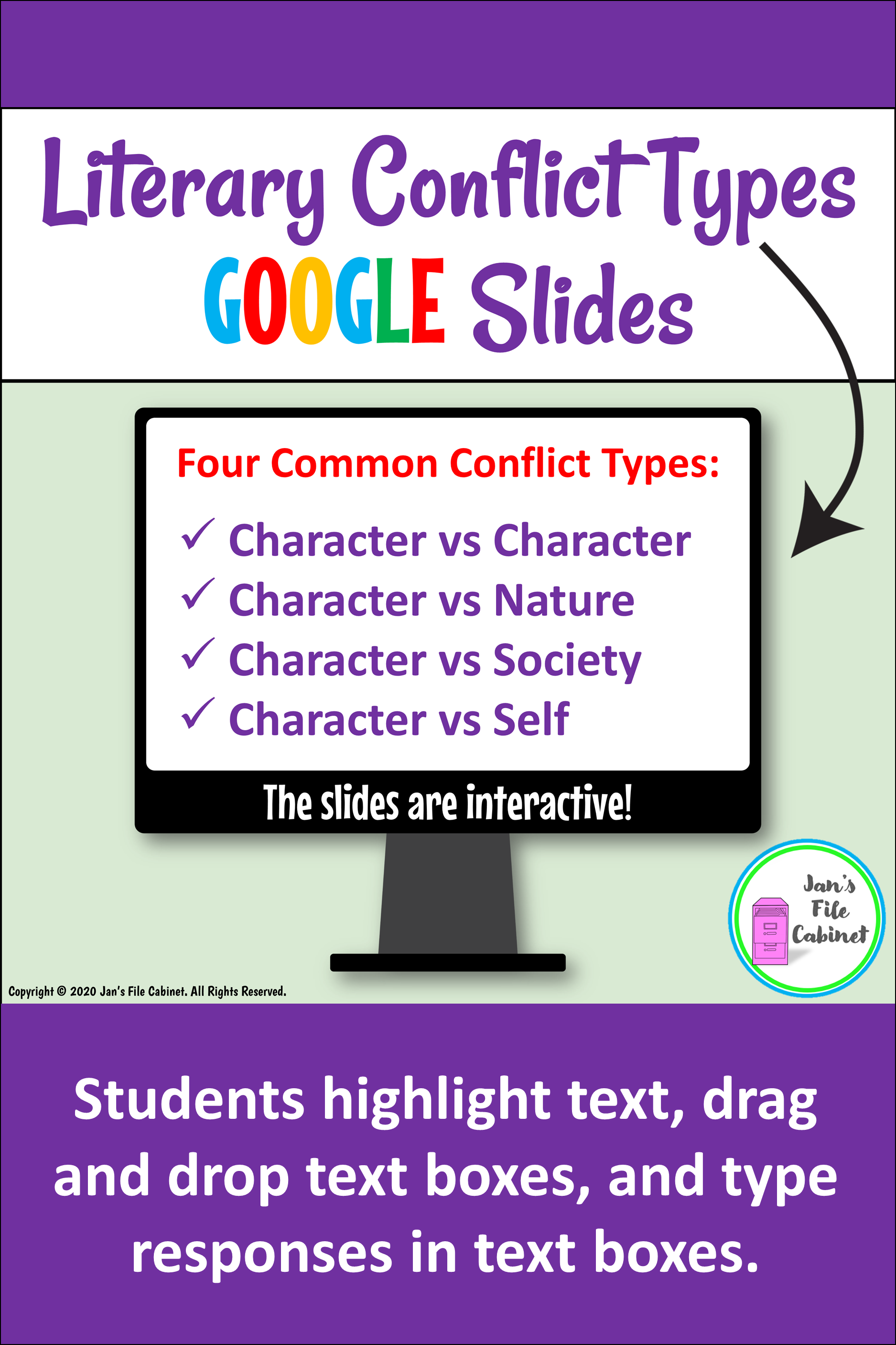Literary Conflict Types Interactive Slides In