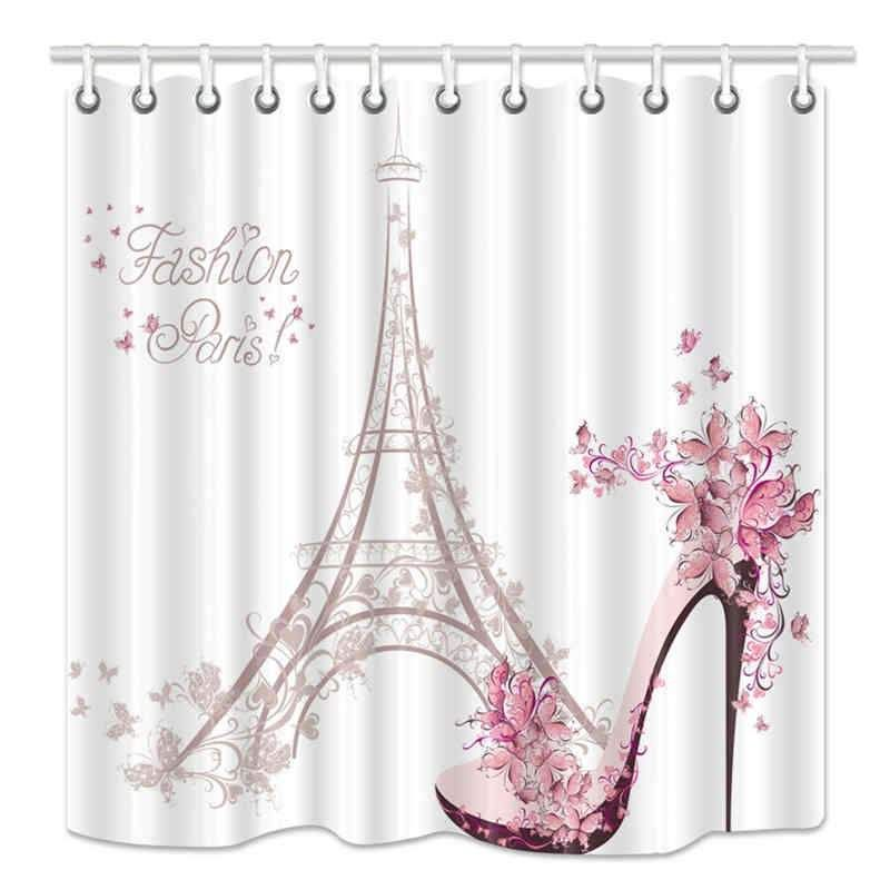 Eiffel Tower Shower Curtain High Heeled Shoes And Flower In Paris