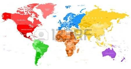 Colored world map borders countries and cities illustration colored world map borders countries and cities illustration gumiabroncs Image collections