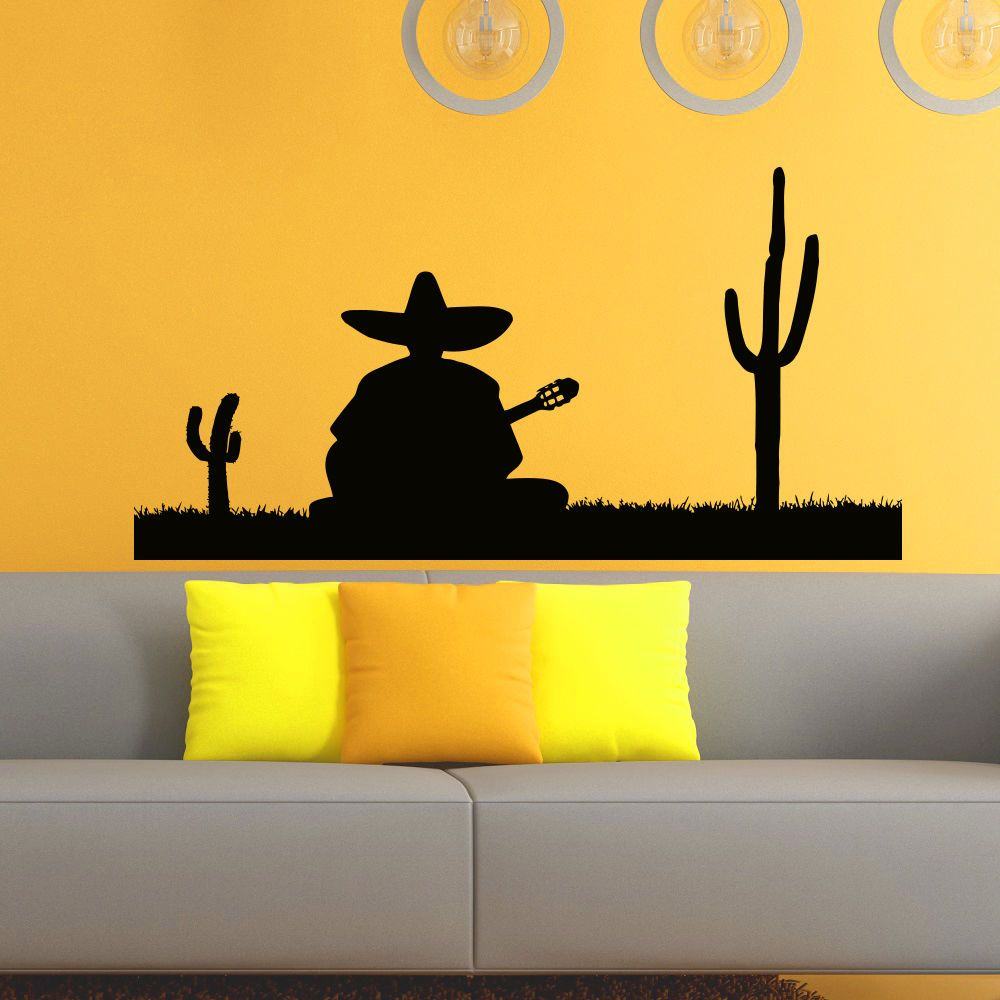 Wall Decals Vinyl Sticker Silhouette Mexican Man Decal Home Decor ...