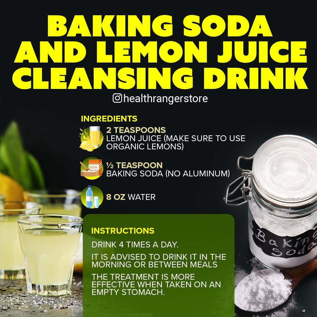 Baking soda lemon juice cleansing drink baking soda