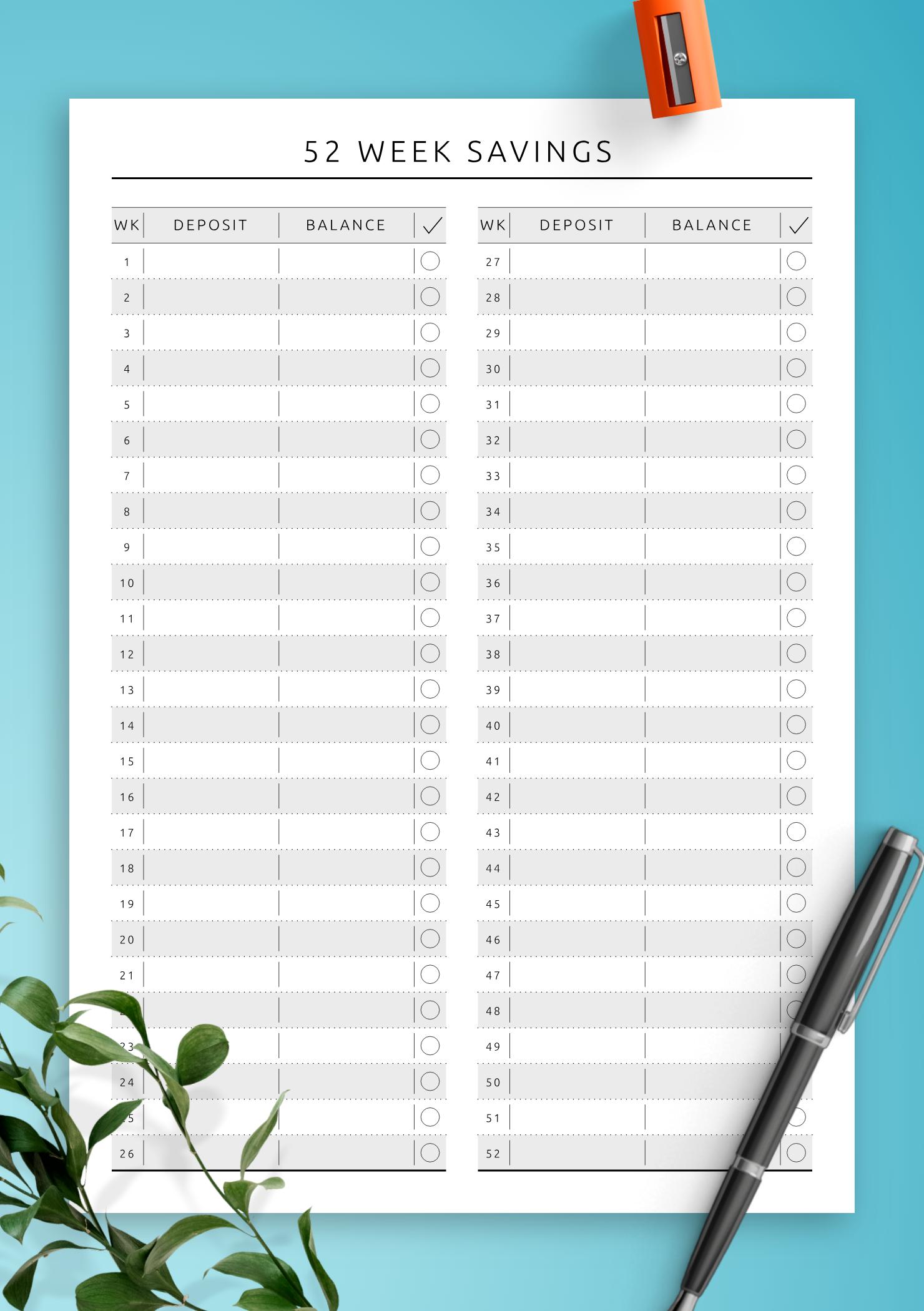 Keep Your Weekly Savings Chart With This Printable