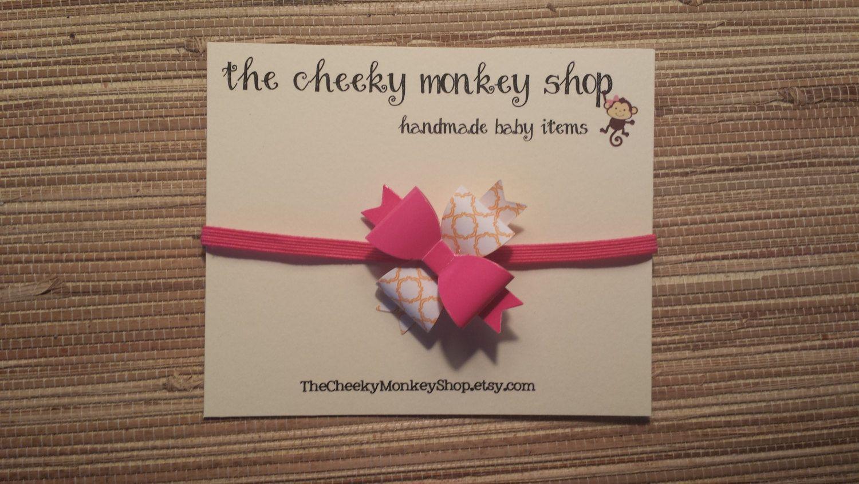 Pink and orange bow elastic headband by TheCheekyMonkeyShop on Etsy
