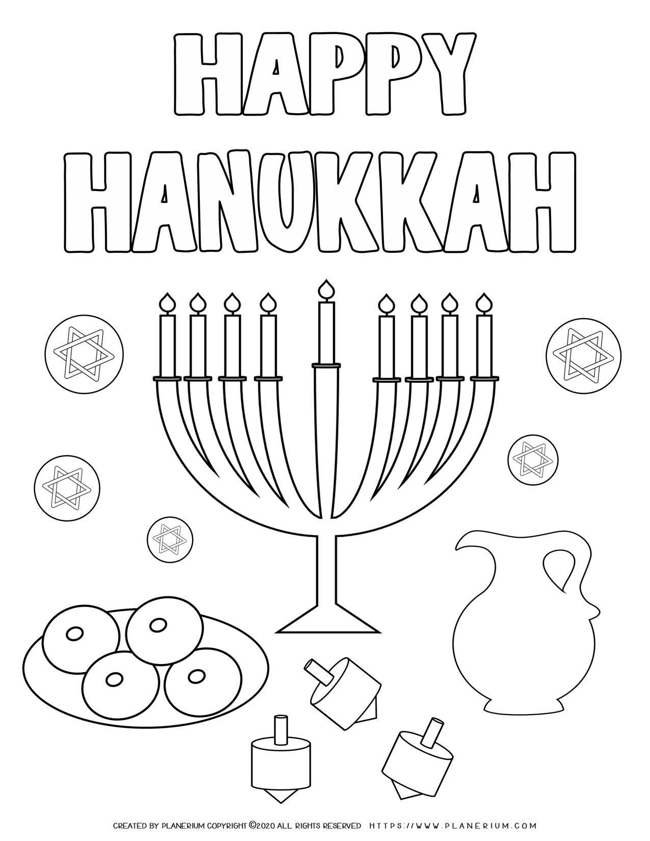Happy Hanukkah Coloring Page Free Printable Planerium Happy Hanukkah Coloring Pages Hanukkah [ 1650 x 1275 Pixel ]