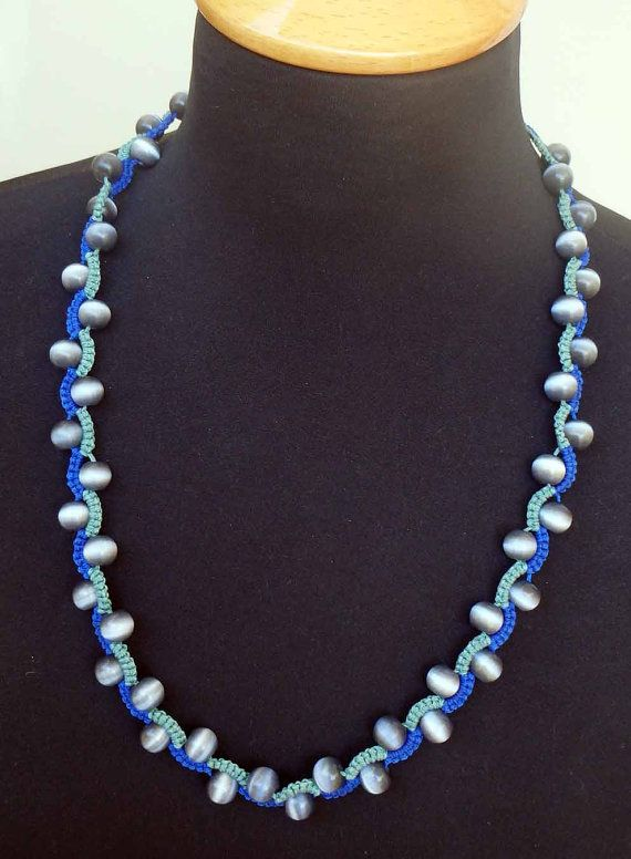 Snake macrame necklace with Cat's Eye round stones 62.5 cm / 24.6 in. adjustable…