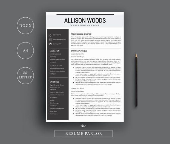 Professional Resume Template/CV Template + Cover Letter + References