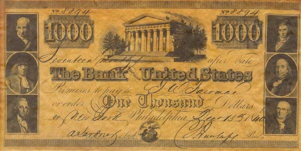 Bank Of United States Thousand Dollar Bill Money Notes Paper Currency