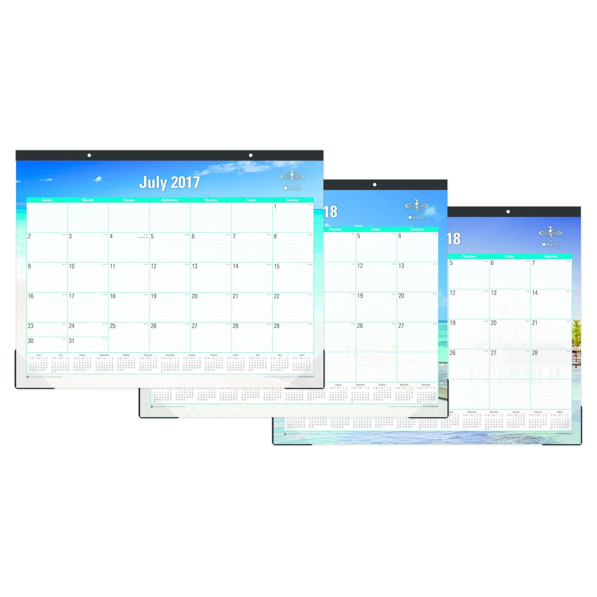 2017 2018 Blue Sky Academic Desk Calendar Beach Products Desk