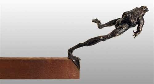 #Bronze #sculpture By #sculptor Brendan Hesmondhalgh Titled: U0027Bronze  Leaping Frog (