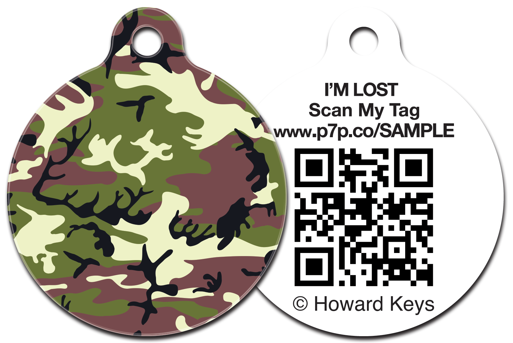 QR Code Pet ID Tag with a Woodland Camouflage design on