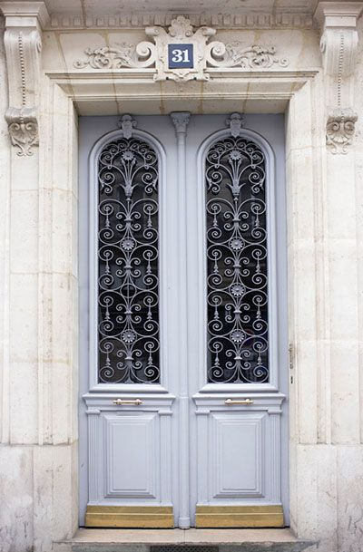 Paris Photography - Blue Grey Door ..rh