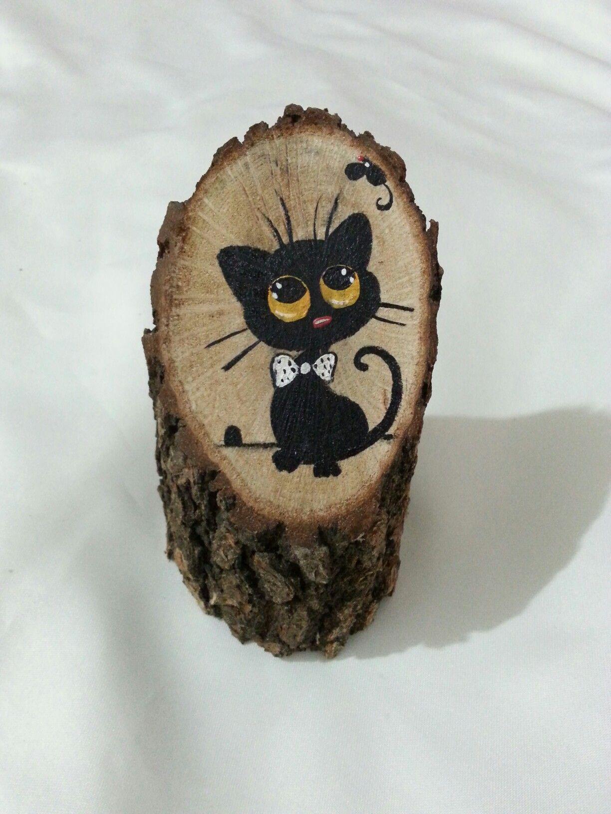 Kara Kedi Agac Uzerine Akrilik El Boyamasi Kedicik Kedi Kedi