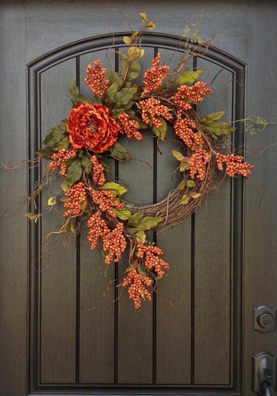 Fall Wreath Autumn Thanksgiving Orange Berry Twig Grapevine Door Decor On Etsy 70 00