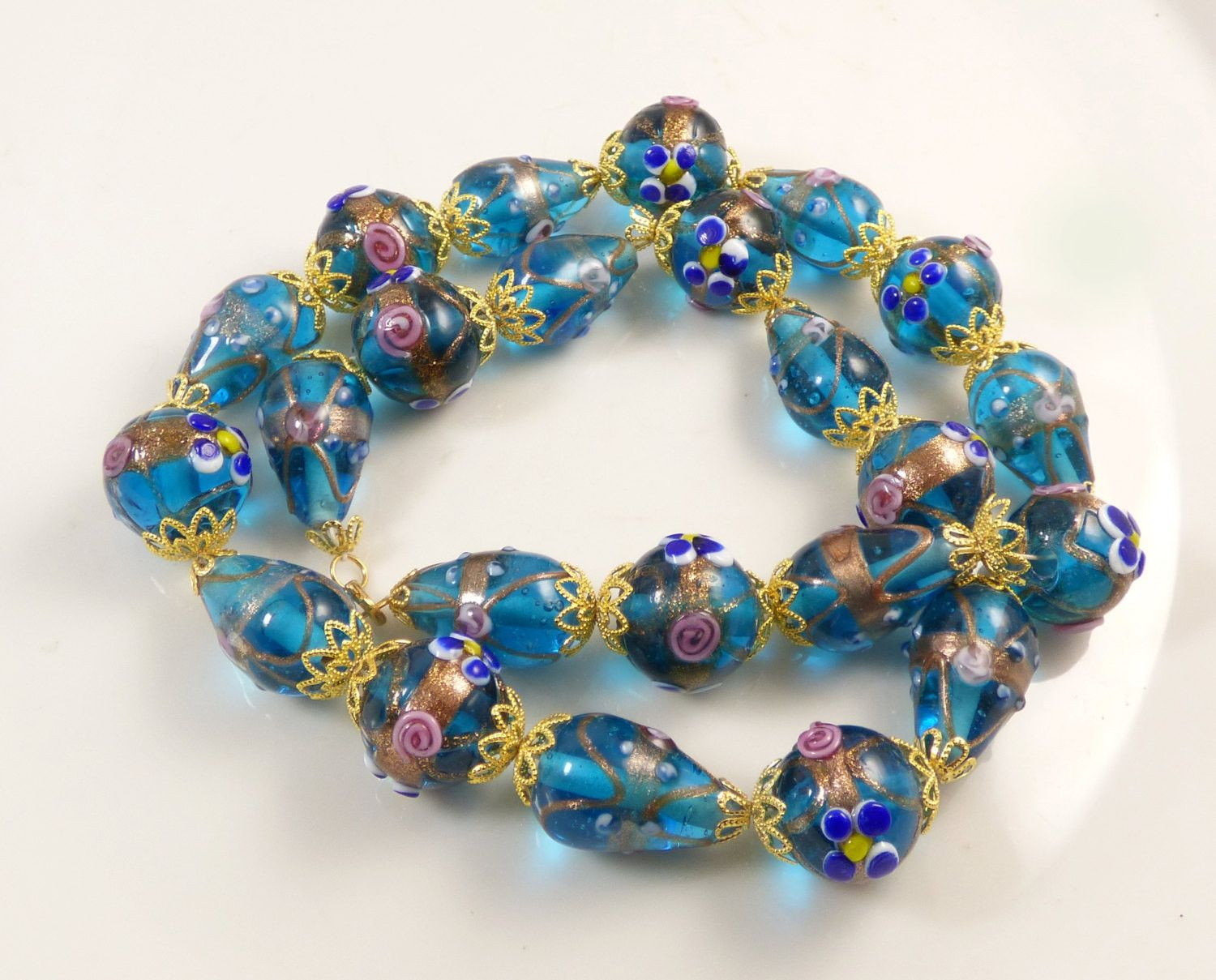wedding cake bead necklace venetian murano glass blue translucent beads