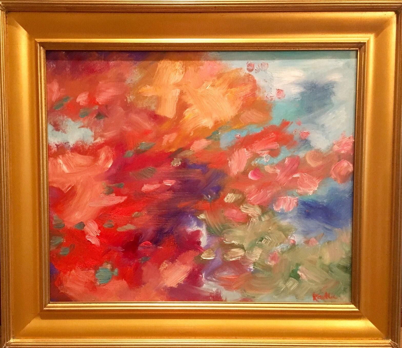 Abstract Color Explosion, Original Oil Painting by artist Sarah ...