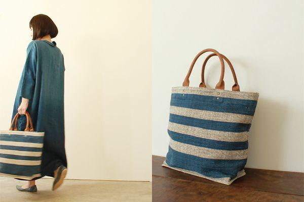 草木染め 手織り裂き織り バッグ