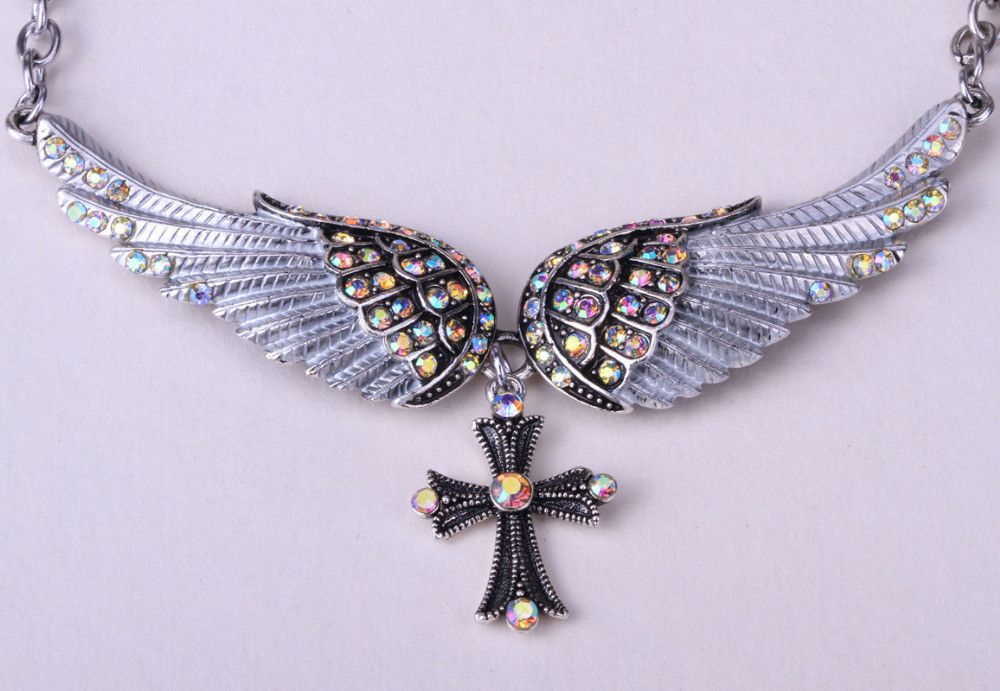 Crystal Angel Wing Cross Adjustable Necklace Beautiful