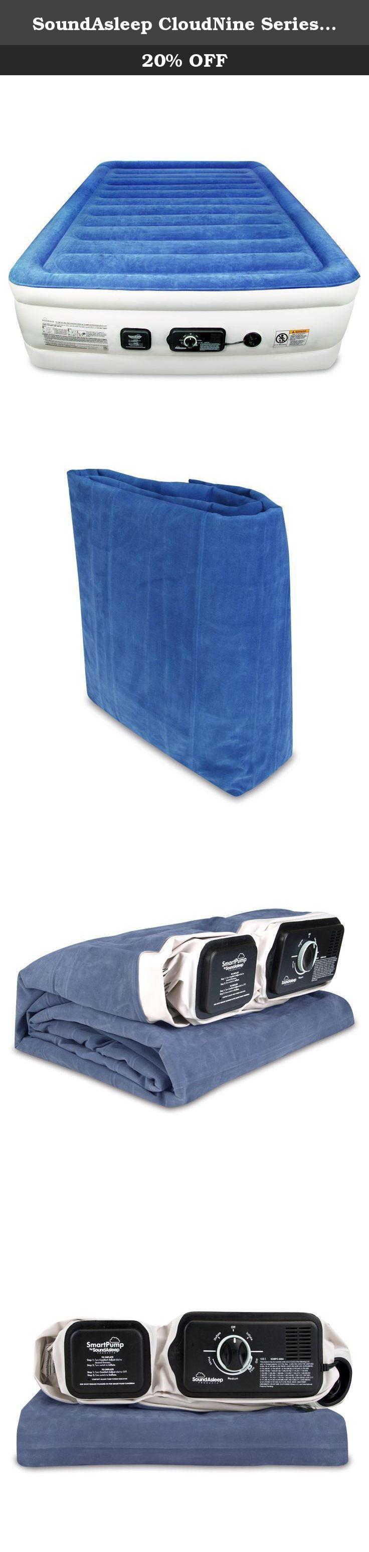 soundasleep cloudnine series queen air mattress with dual smart pump technology by soundasleep products blue