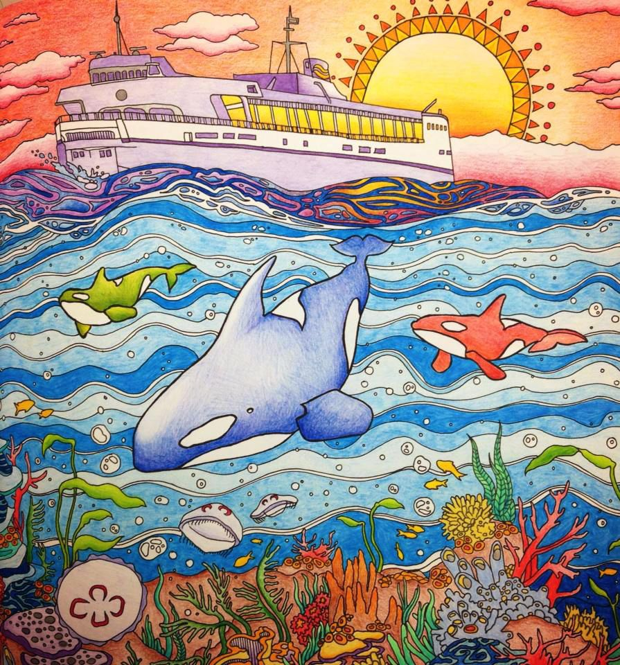 RGB Whales Coloured By Clementine Hamelin From Legendary Landscapes Colouring Book