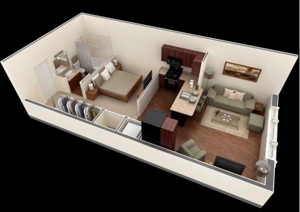 Plano de departamento de 45 m2 suites pinterest for Dormitorio 15 metros cuadrados