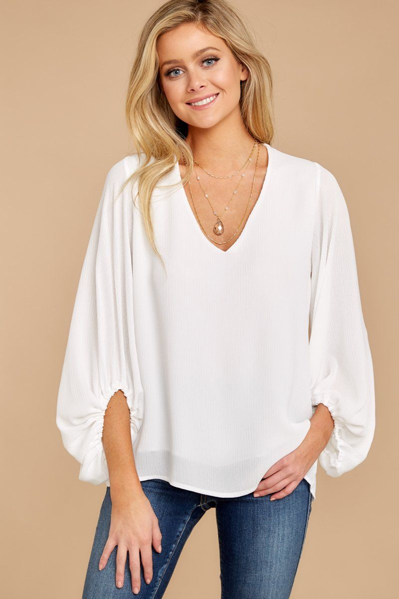 5f213dd6c81 Essential White Long Sleeve Blouse - Flowy Oversized Top - Shirt -  42 –  Red Dress Boutique