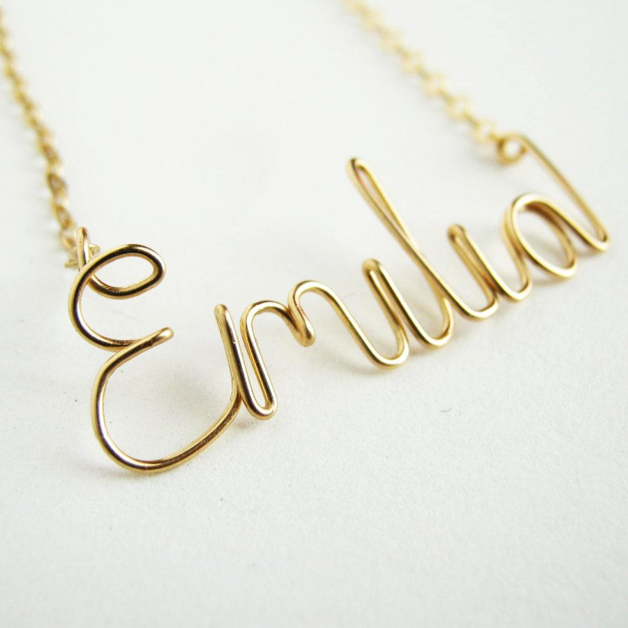 K gold filled personalized custom name script by azizajewelry