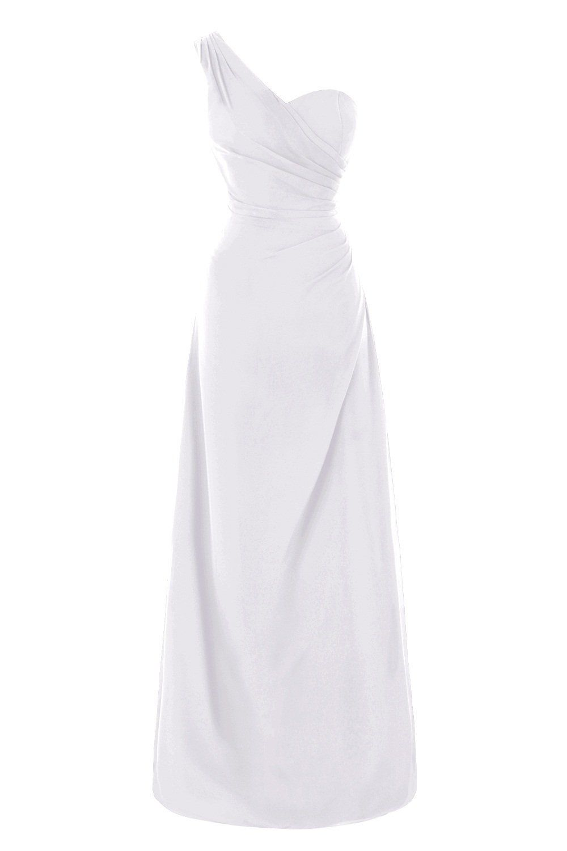 Queenmore womens chiffon one shoulder simple casual long bridesmaid