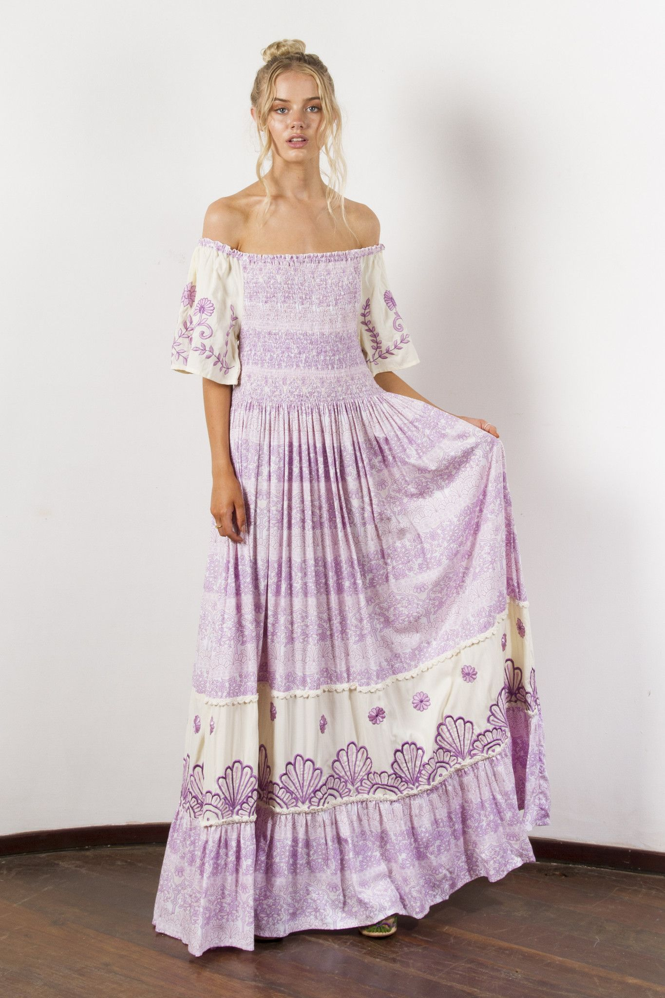 FILLYBOO HUMMINGBIRD EMBROIDERED MAXI DRESS LILAC