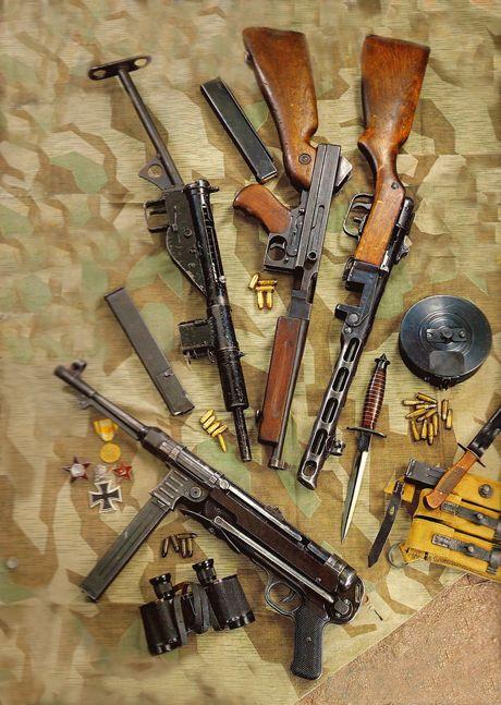 German MP-40, British STEN MkII, American Thompson M1, and