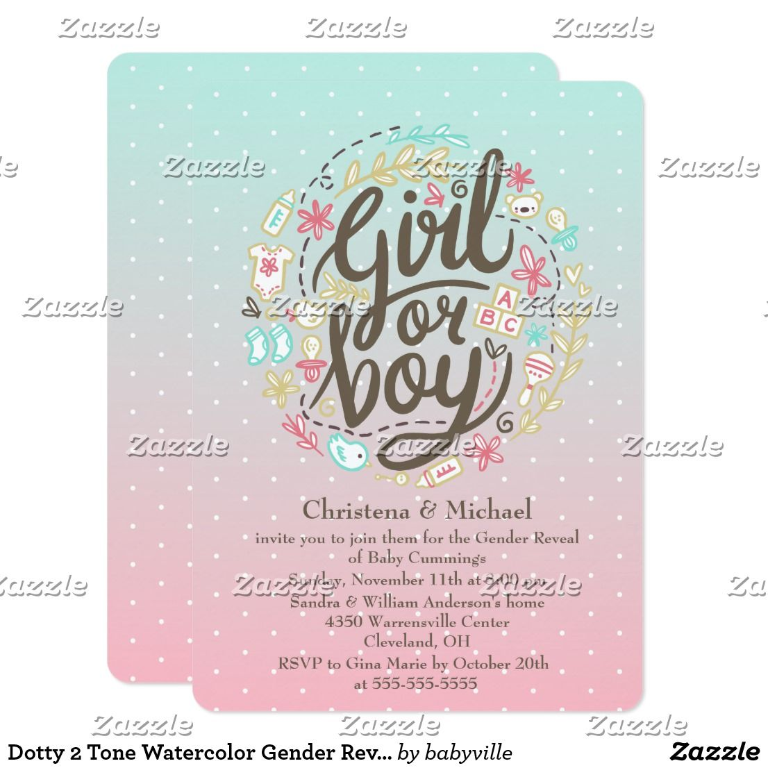 Dotty 2 Tone Watercolor Gender Reveal Invitation Zazzle Com