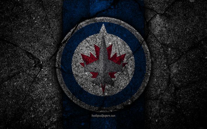 Download wallpapers 4k, Winnipeg Jets, logo, hockey club