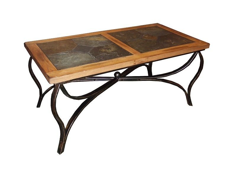 Sedona Rustic Oak Wood Slate Metal Coffee Table Sunny