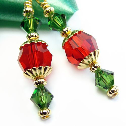 STERLING SILVER 925 EARRINGS Red CRYSTAL Green CZECH GLASS FLOWER Handmade