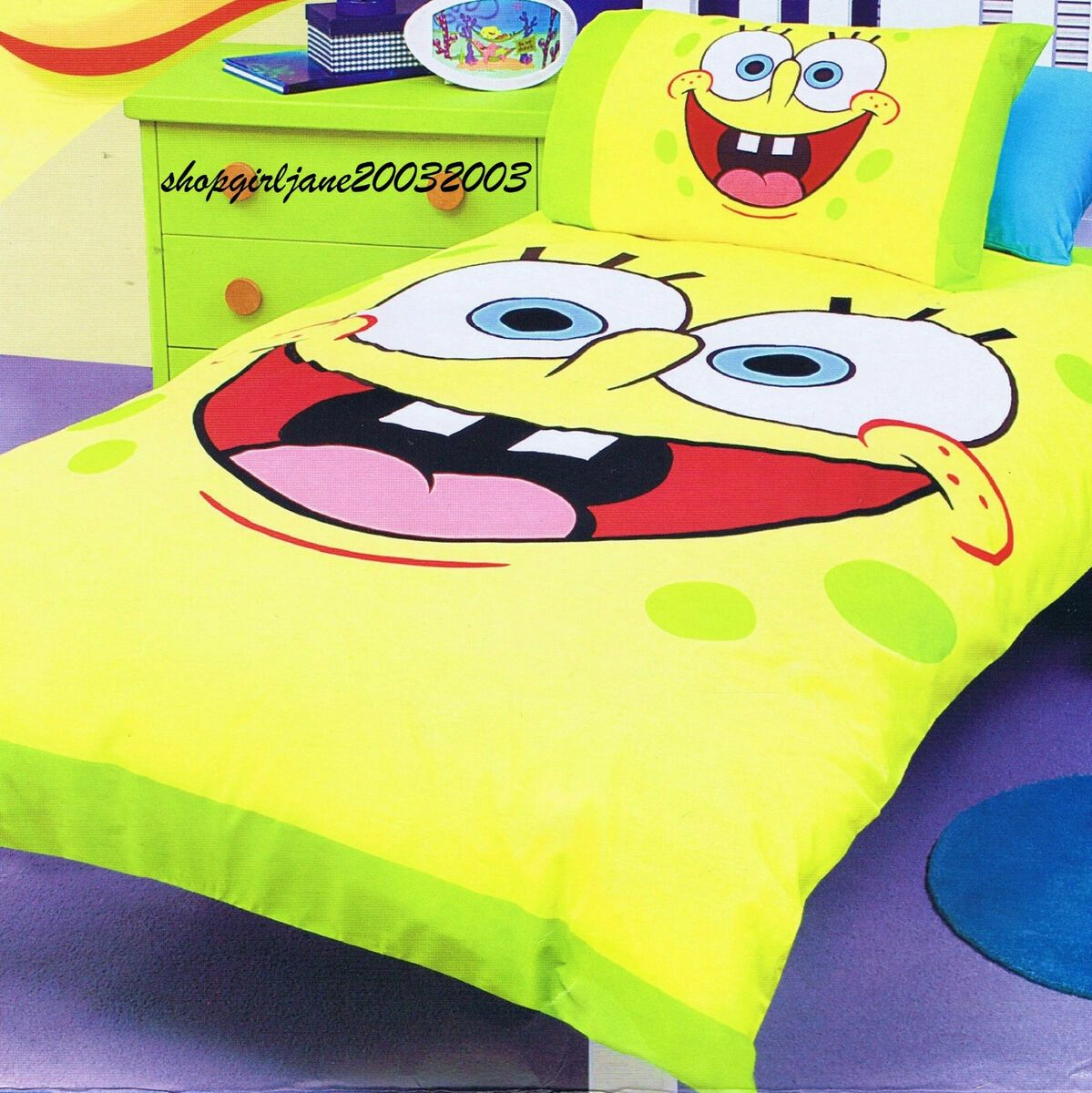 Spongebob Squarepants Yellow Single Twin Bed Quilt DOONA