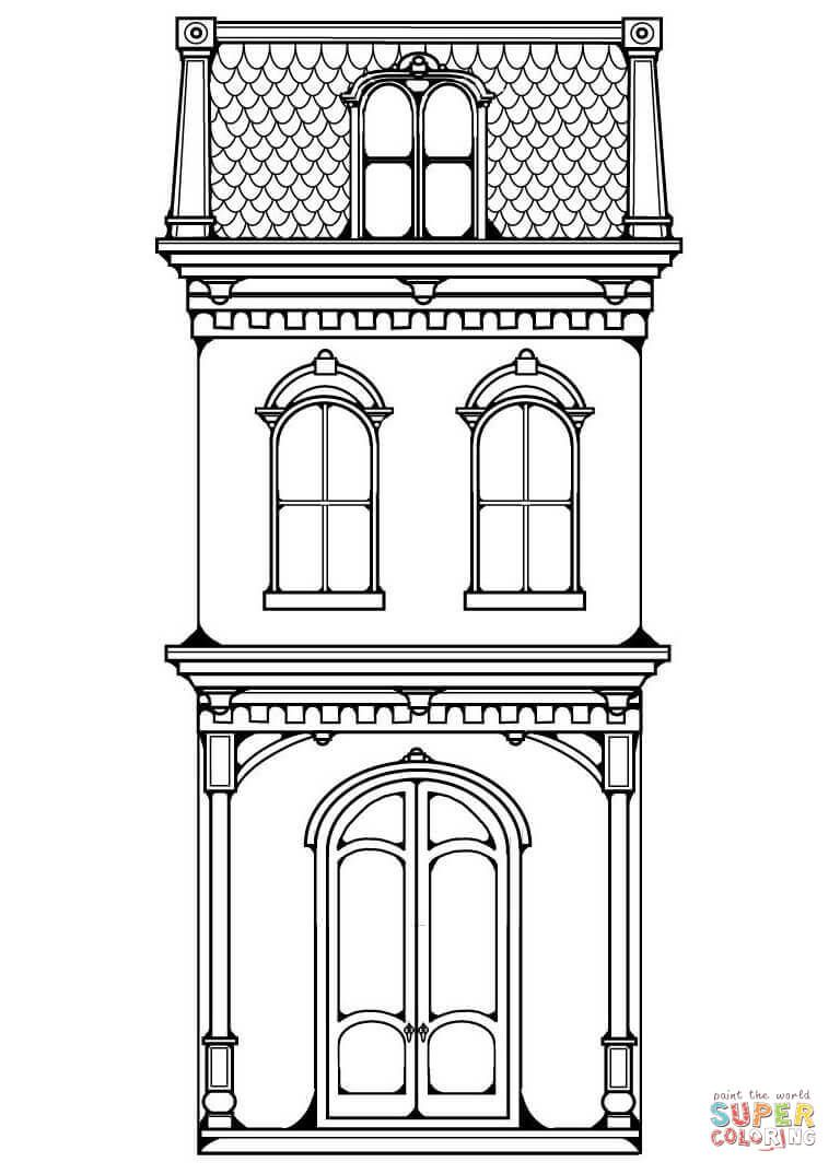 Victorian Row House Coloring Page