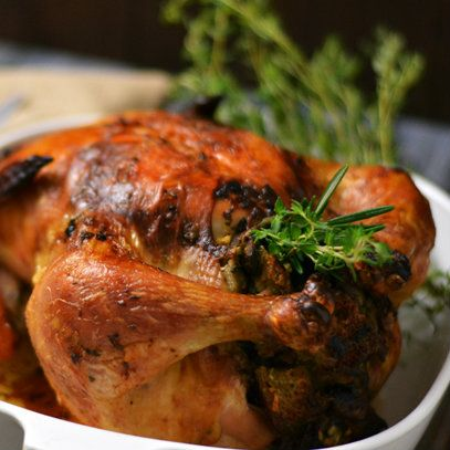 Brined Roasted Chicken with Oyster & Mushroom Stuffing