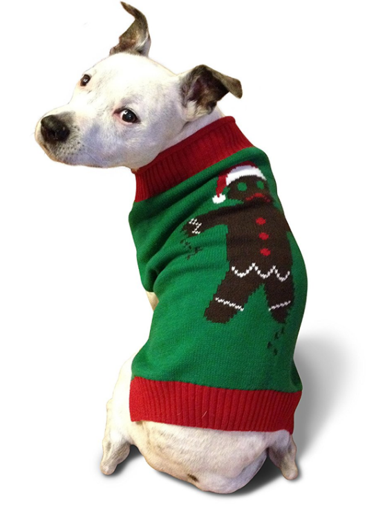 Ugly Christmas Dog Sweater - Gingerbread Man - For Big Dogs - Ugly Christmas Dog Sweater - Gingerbread Man - For Big Dogs