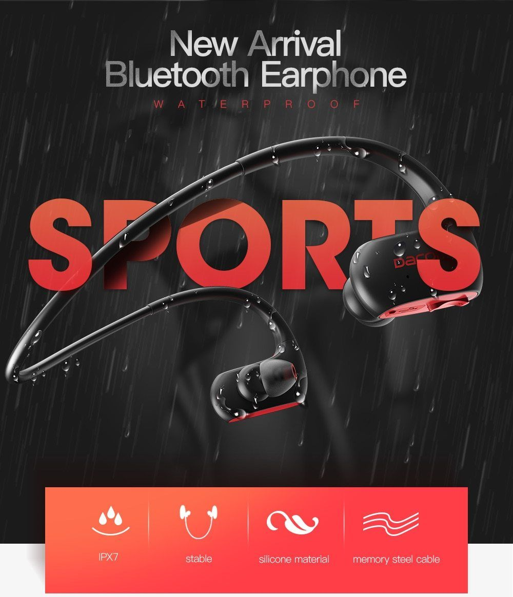 10dcafc6a57 DACOM L05 Sports Bluetooth Headphones Bass IPX7 Waterproof Wireless  Earphones Stereo Headset with Microphone for iPhone Samsung