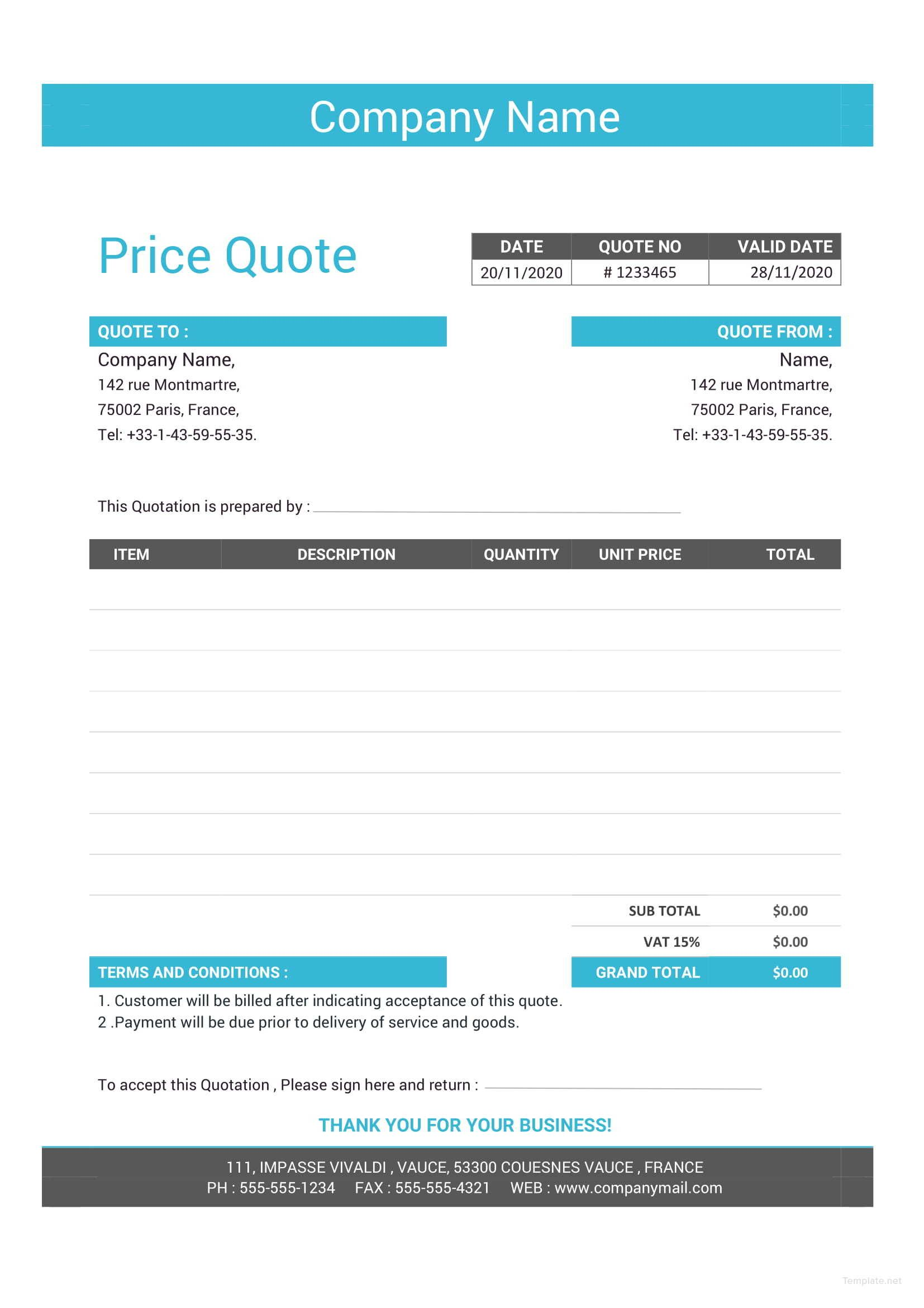 Free Business Quotation Format With Images Quotation Format