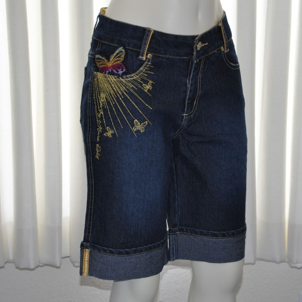 Youth Girls Shorts Size 16 Denim Red Marc Ecko Butterfly Stitchings