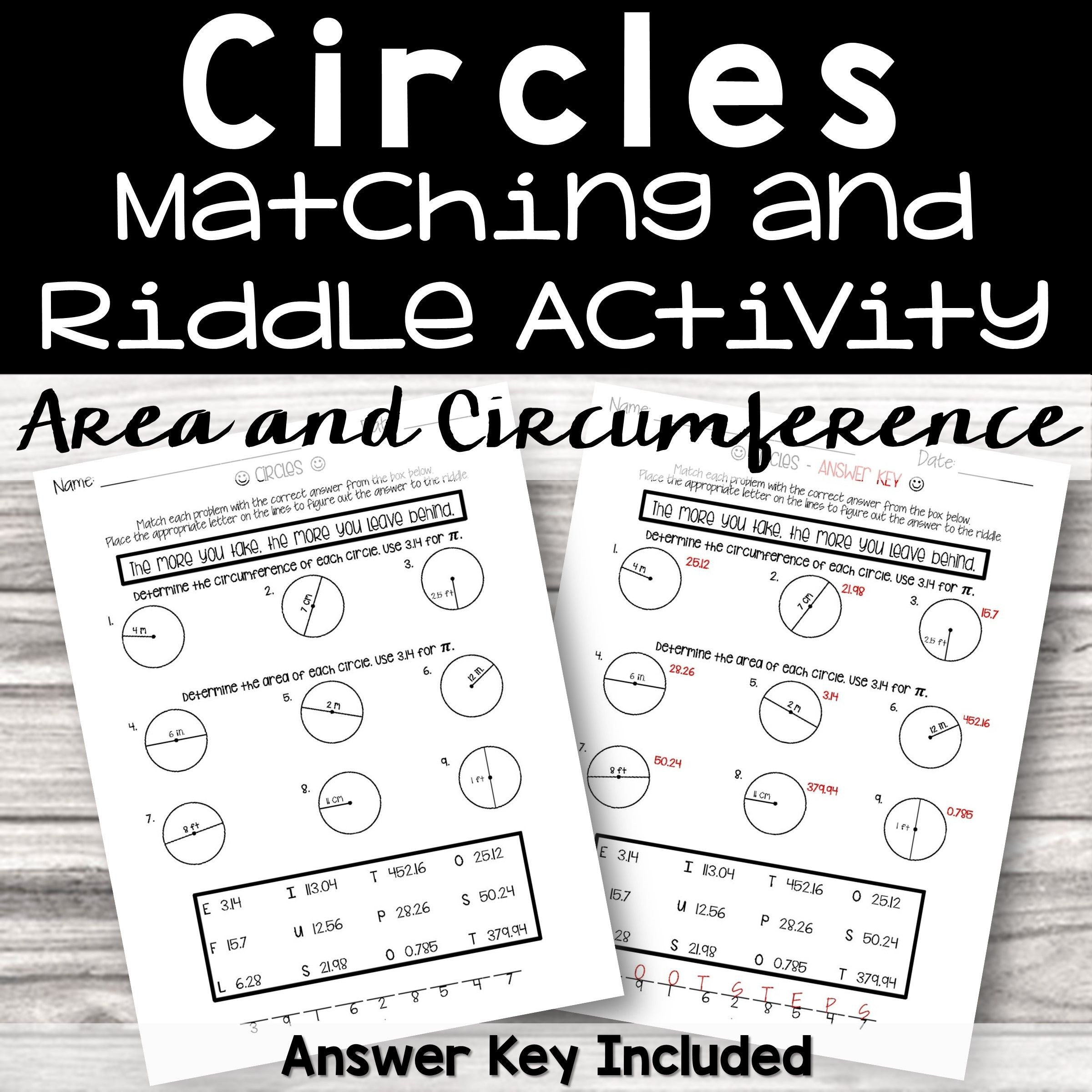 Area And Circumference Of Circles Riddle Activity From Count On Me Math Riddles Riddles Kindergarten Math Worksheets [ 2400 x 2400 Pixel ]