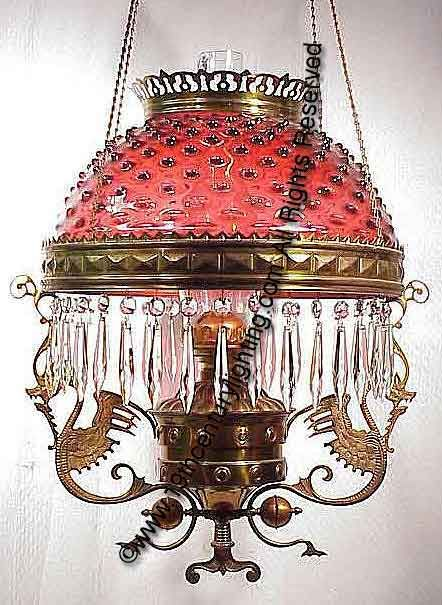 PARKER Double Dragon Frame With Cranberry Hobnail Shade Victorian Kerosene Hanging Lamp Manufactured By The Co
